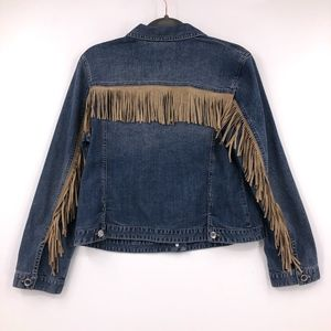 Chico's Platinum Fringe Denim Jacket